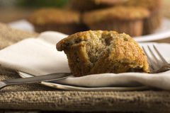 Homemade Banana Muffin. Fresh homemade banana muffin with fork on napkin Royalty Free Stock Images