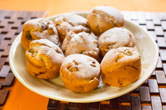 Homemade banana muffins. On the plate Royalty Free Stock Images
