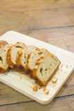 Homemade Banana Nut Bread Cut into Slices Royalty Free Stock Image
