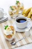 Homemade banana pudding and a cup of coffee Royalty Free Stock Image