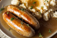 Homemade Bangers and Mash Stock Images