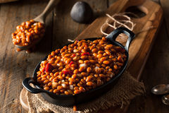 Homemade Barbecue Baked Beans. In a Black Skillet Stock Photos