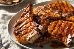 Homemade Barbecue Pork Chops. Ready to Eat stock photos