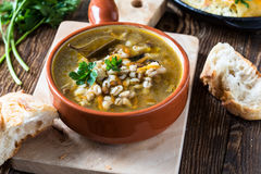 Homemade barley and  lentil soup Stock Photography