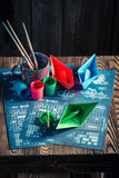 Homemade battleship paper game with coloured ships Royalty Free Stock Image