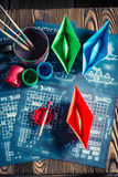 Homemade battleship paper game ready to play Royalty Free Stock Image