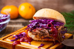 Homemade bbq beef burger with crunchy red cabbage slaw Royalty Free Stock Images