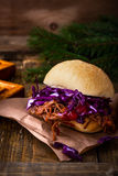 Homemade bbq beef burger with crunchy red cabbage slaw Royalty Free Stock Photo