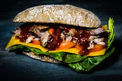 Homemade BBQ chopped pork sandwich Royalty Free Stock Images