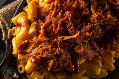 Homemade BBQ Pulled Pork Mac and Cheese royalty free stock photography
