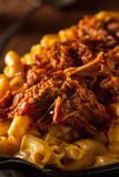 Homemade BBQ Pulled Pork Mac and Cheese Stock Photos