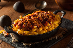 Homemade BBQ Pulled Pork Mac and Cheese. Ready to Eat royalty free stock photos