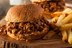 Homemade BBQ Sloppy Joe Sandwiches. With Fries Royalty Free Stock Images