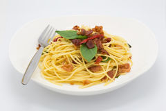 Homemade Beacon spaghetti on white. Background, isolated food background Royalty Free Stock Image