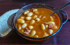 Homemade bean soup made from beef, vegetables and spices royalty free stock image