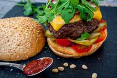 Homemade beef burger Royalty Free Stock Image
