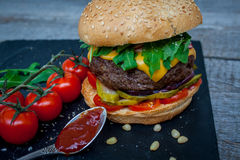 Homemade beef burger Royalty Free Stock Images