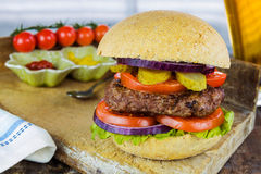 Homemade beef burger Stock Images