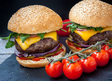 Homemade beef burgers Stock Photography