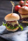 Homemade  beef burgers with cheese Royalty Free Stock Photos