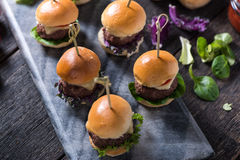 Homemade  beef burgers with cheese Stock Image