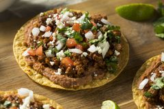 Homemade Beef and Cheese Tostadas stock image