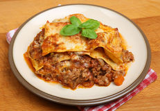 Homemade Beef Lasagna Plate Stock Photography