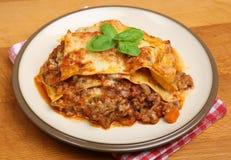 Homemade Beef Lasagna Plate Stock Photography