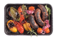 Homemade beef sausages on service pan isolated royalty free stock photos