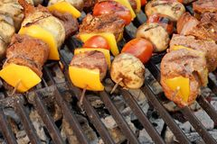 Homemade Beef Shish Kabobs with Peppers and Mushrooms Royalty Free Stock Images