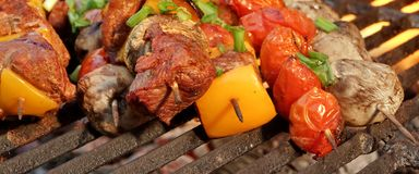 Homemade Beef Shish Kabobs with Peppers and Mushrooms Royalty Free Stock Photo