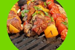 Homemade Beef Shish Kabobs with Peppers and Mushrooms Stock Image