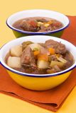 Homemade Beef Soup Served in Metal Bowls Stock Images