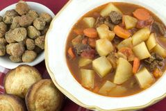 Homemade Beef Stew with Cornbread Muffins Royalty Free Stock Image
