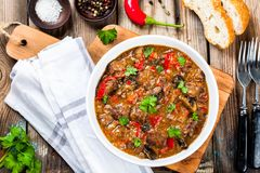 Homemade beef stew with mushrooms and paprika Stock Images
