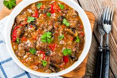 Homemade beef stew with mushrooms and paprika Stock Photo