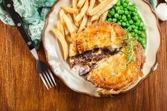 Free Homemade Beef Stew Pie With French Fries Royalty Free Stock Image - 117780866