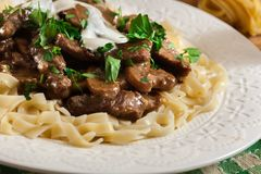 Homemade beef Stroganoff with mushrooms. And tagliatelle pasta Royalty Free Stock Image