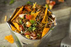 Homemade Beef Taco in a Bag. Homemade Beef Walking Taco in a Bag with Chips Stock Images