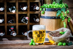 Homemade beer stored in the cellar Stock Image