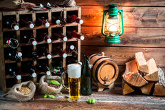 Homemade beer storeroom in the cellar Royalty Free Stock Images