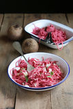 Homemade beetroot pasta. With parmesan Stock Image
