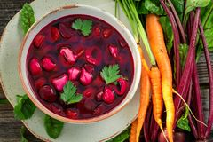 Homemade beetroot soup made of fresh beetroots royalty free stock photo