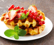 Homemade Belgian waffles with berries Stock Photography
