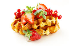Homemade Belgian waffles with berries Royalty Free Stock Photos