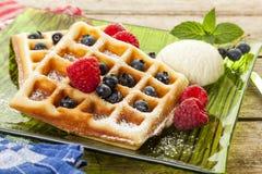 Homemade Belgian Waffles with berries Stock Photo