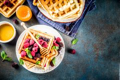 Belgian waffles with berries and honey stock photography