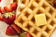 Homemade Belgian Waffles with Fruit Royalty Free Stock Photo