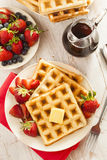 Homemade Belgian Waffles with Fruit Stock Photos
