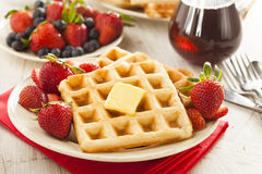 Homemade Belgian Waffles with Fruit Royalty Free Stock Photography